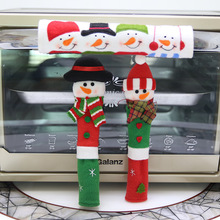 New Year 3PCS/Set Christmas Decoration Refrigerator Microwave Oven Door Knob Covers Christmas Snowman Design Cloth Dust Covers(China)