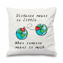 "Long Distance Relationship Cushion Cover Love Decorative Throw Pillow Case Valentine Wedding Gift Home Sofa Decor 18"" Two Sides(China)"