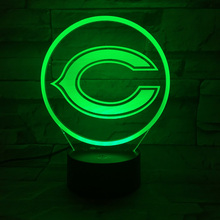 Baby Night Light Team Logo Chicago Bears Bedside Table Lamp Creative optical illusion LED Desk Lampen Indoor deco Lumineuse(China)