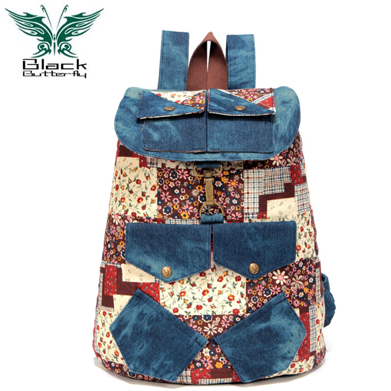 Specially Denim Canvas Backpack Rucksack For Teenage Girls Casual Daypacks Bookbags Vintage Printing Laptop Mochila Feminina<br>
