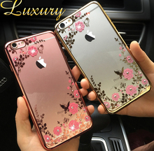 "Lace Flower Soft Clear Diamond Metal Flash Frame Soft Silicon Gel Case For iPhone SE 5 5s 6 6S 6plus 7 7 Plus 5.5"" Cover Back"