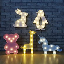 3D Animal Night Light Unicorn Bear Marquee LED Battery Desk Night Lamp For Baby Kids Bedroom Wedding birthday Party Home Decro(China)