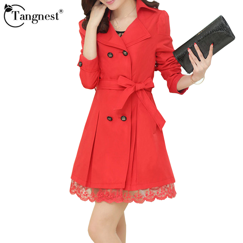 TANGNEST Women Trench Jacket Elegant Warm Slim Trench Women Turn down Neck Double Breasted Spring Autumn Lace Coats WWF853Одежда и ак�е��уары<br><br><br>Aliexpress