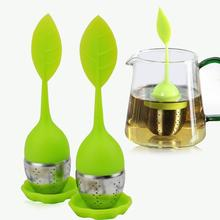 Sweet Leaf Silicone Tea Infuser Reusable Strainer with Drop Tray Novelty Tea Ball Herbal Spice Filter Interesting Kitchen Tool