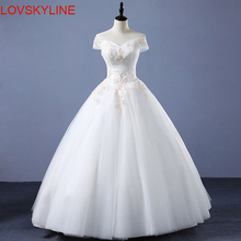 Buy Elegant Flowers Lace Princess Wedding Dress 2018 Beading Appliques Cap Sleeves Vintage Bride dresses Robe De Mariage Plus Size for $73.00 in AliExpress store
