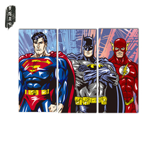 3PCS Superman Batman Wall Oil Painting Poster Christmas decorative painting Canvas paintings Art Wall Pictures for Living Room(China)
