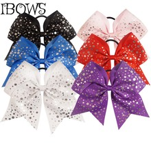 "Hand Made 7.5"" Bling Silver Glitter Dots Large Cheer Hair Bow Cheerleading For Girls Party School Gift"