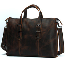 Nesitu Vintage Brown Cowhide Crazy Horse Leather Men Messenger Bags 15.6'' Laptop Man Briefcase Portfolio #M3362-2 - Max Well Industry Co.,Ltd store