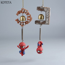 Koteta America Anime Superhero Avenger Spider Man Action Figure Kids Toys Spiderman Wind Chimes Resin Home Decoration Boy Figure