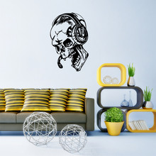 Wall Sticker Skull Headset Skeleton Living Room Kids Bedroom Home Decor Halloween Funny Decoration adesivo parede infantil(China)