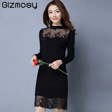 New Autumn Women Sweater Lace Dress Plus Size Long Sleeve Black Knitted Sweater Casual Pullovers Ladies Tops Winter Wear SY1409