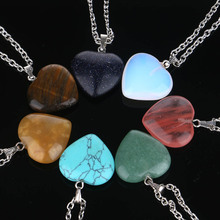 Heart Shape 7 Chakra Natural  stone Sea Opal Pendant Necklaces For Women Men Valentine Gift