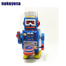 Classic collection Retro Clockwork Wind up Metal Walking Tin band drummer robot toy Mechanical toys kids christmas birthday gift(China)
