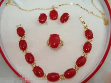 Nobility Woman natural Jewelry  Plated Red GEM Bracelet earring Pendant Necklace Set  Grad  Plated
