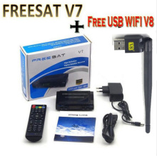 Freesat V7 10pcs WIFI av cable diseqc optional DVB-S2 HD Youtube PowerVU CCa z5 mini Newca freesat v7 satellite receiver(China)