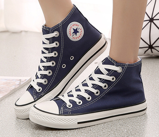 New 2017 Summer Hot star flat lace up Round toe  Shoe Unisex Couples High Canvas Casual  Shoes<br><br>Aliexpress