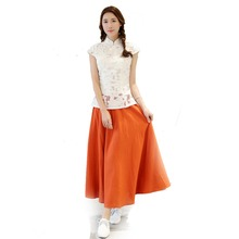 Candy Color Hot Sale Summer New Orange Ladies' Cotton Linen Skirt Chinese Pleated Skirt Daily Flared Skirts One Size CTN032006