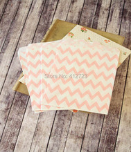 light pink chevron Popcorn Bags treat paper bags wedding party favor Kraft bags cookie candy cake biscuit packaging bag 50pcs(China)
