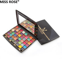 free shipping MISS ROSE 48 colors professional pressed radiant powder wet eyeshadow cream eye shadow makeup palette shimmer set(China)
