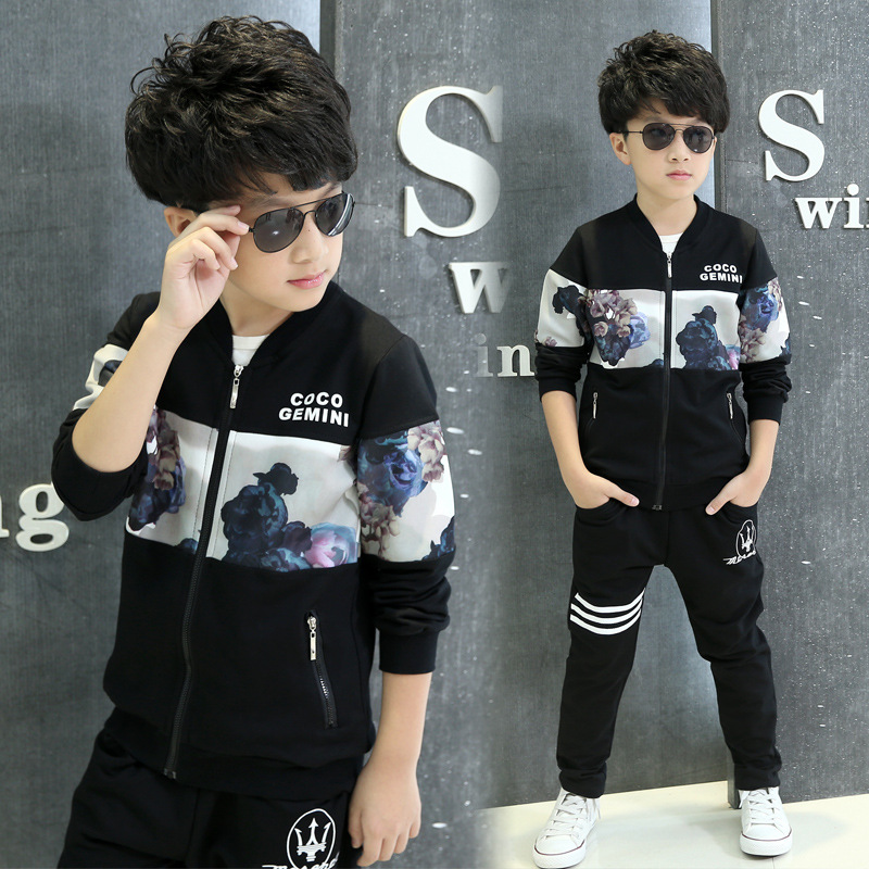 Boys print childrens clothing collection of spring autumn sports coat pants two tracksuits boy dress 5-13 t children clothes<br><br>Aliexpress