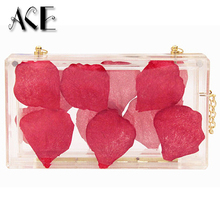 2016 New Arrival Vintage Roses Flower Petals Transparent Acrylic Lady Evening Bags Women Handbags Wedding Party Purse Day Clutch