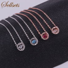 New arrival blue red rhinestone women pendants rose gold white color heart moving crystal necklace