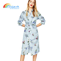 XSJPZH New Blue Stripe Shirt Dress Women Spring Summer Long Floral Print  Ladies Blouse Dresses Long 167e5974908a