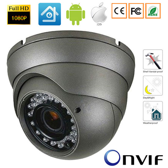 CCTV 2MP IP Camera 1080P Full HD camera IP outdoor p2p Metal IR Dome Night Vision Waterproof CCTV Camera IR-CUT,ONVIF 2.4<br>