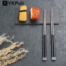 Hot!!!5 Pairs Japanese Chopsticks Set 304 Stainless Steel Reusable Travel Chopsticks Gift