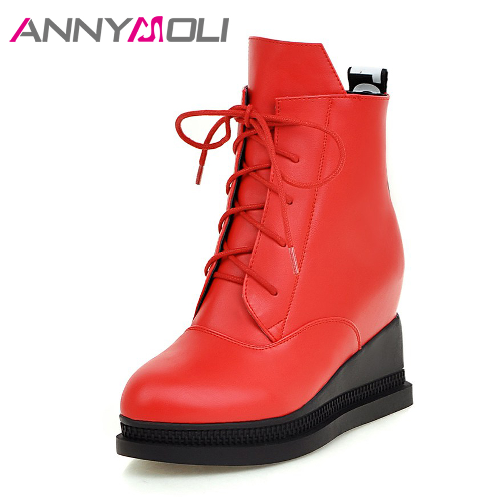 ANNYMOLI Women Ankle Boots Winter Fur Platform Wedge Heels Boots Zip Punk High Heel Short Boots Lacing 2018 Big Size 33-42 Red<br>