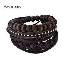 MJARTORIA 1Set Multilayer Leather Bracelet Men Jewelry Boho Rock Wood Bead Bracelets For Women Love Vintage Bracelets & Bangles