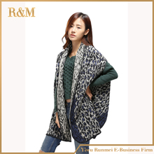 2016 New Winter Women Oversize Poncho Leopard Grain Print Shawls Scarf Split Thick Dual-purpose Super Lady Cloak