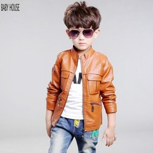 New Autumn Winter Boys Leather Jacket Fashion Boys Coat Veste Manteaux Enfants Boys Jacket BC024(China)