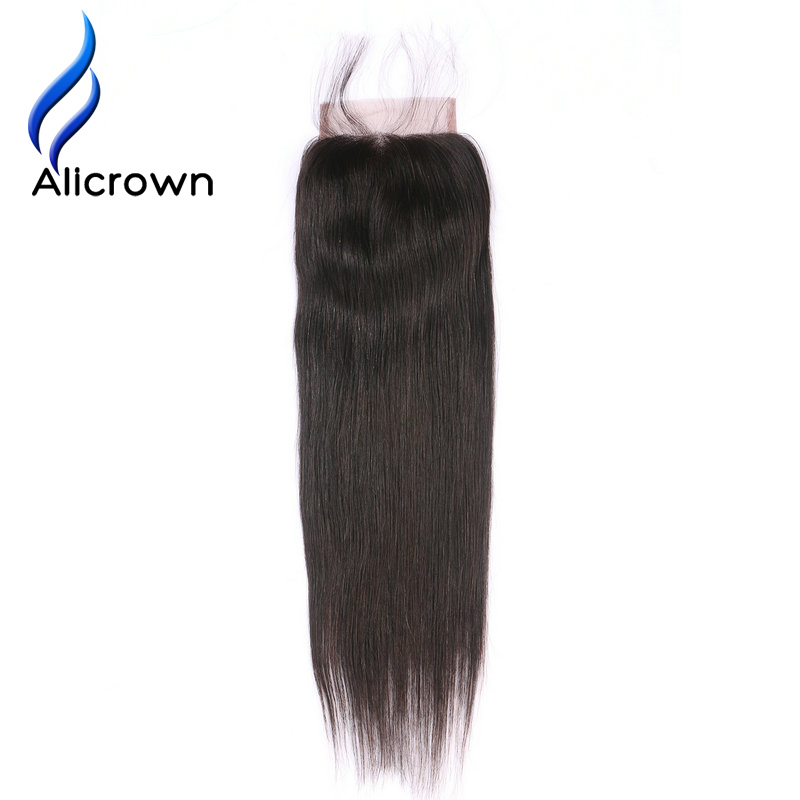 Alicrown Hair Sliky Straight 4*4 Lace Closure Free Part Bleach Knots 100% Brazilian Human Remy Hair Natural Color Free Shipping