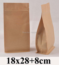 80PCS 18*28+8cm Flat bottom standup ziplock kraft bag  7.1''*11'' side gusset zipper kraft bag coffee tea nut kraft paper bag