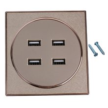 86x86x32mm Gold Square AC110-250V 4 USB Port Wall Socket Charger AC Power Receptacle Outlet