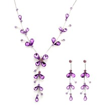 Factory Outlet Multicolor Jewelry Set Elegant Purple Color Butterfly Crystal Beads Branch Silver Women Jewelry Sets