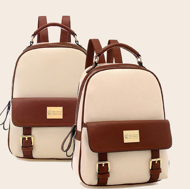 Fashion women backpack patchwork bear girl student school bags pu leather travel rucksack free shipping Q0<br><br>Aliexpress