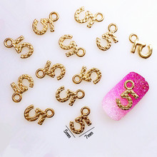 "10Pcs/Lot 5*7mm Gold Pendent Letter""5"" 3D DIY Metal Alloy Nail Art Decorations Nail Stickers Jewelry Accessories/Charms"