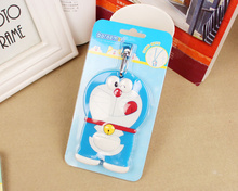 Kawaii 11*7CM Doraemon Plastic Travel Luggage Tag Holder , Cards Case Pad ; Luggage Name Cards Case TAG(China)