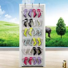 Clear Collection 24-Pocket Over The Door Shoe Organizer Storage Hanging Bag 24grid non-woven door transparent storage bag box&19(China)