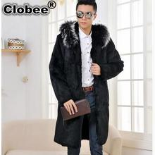 Men faux fur long coat winter outwear 2017 thicken faux mink fur black jackets coats plus size leather jackets with hood WR653