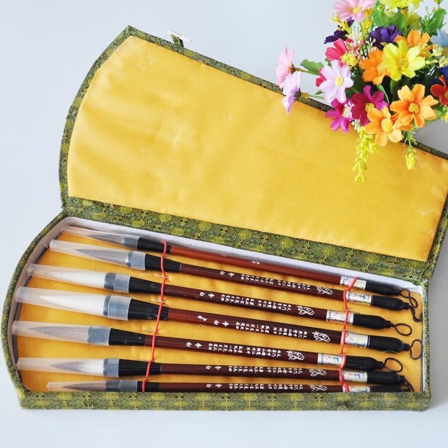 7pcs/pack TOP Chinese Pianiting Brush Pen Hopper-shaped Paint Brush Art Stationary Big Oil Painting Brush Pen GIFT BOX <br>