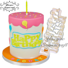 Yueyue sugarcraft Happy Birthday Cake Fondant Cutter Cake Tools Cutter(China)