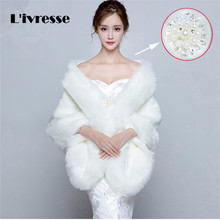 Wedding Faux Fur Coat Bolero Bridal Cape Winter Shawls Free Size Bridal Wraps Wedding Dress Accessories