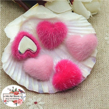 50pcs pink Flatback hairy Fabric Covered round Buttons Home Garden Crafts Cabochon Scrapbooking DIY 16mm
