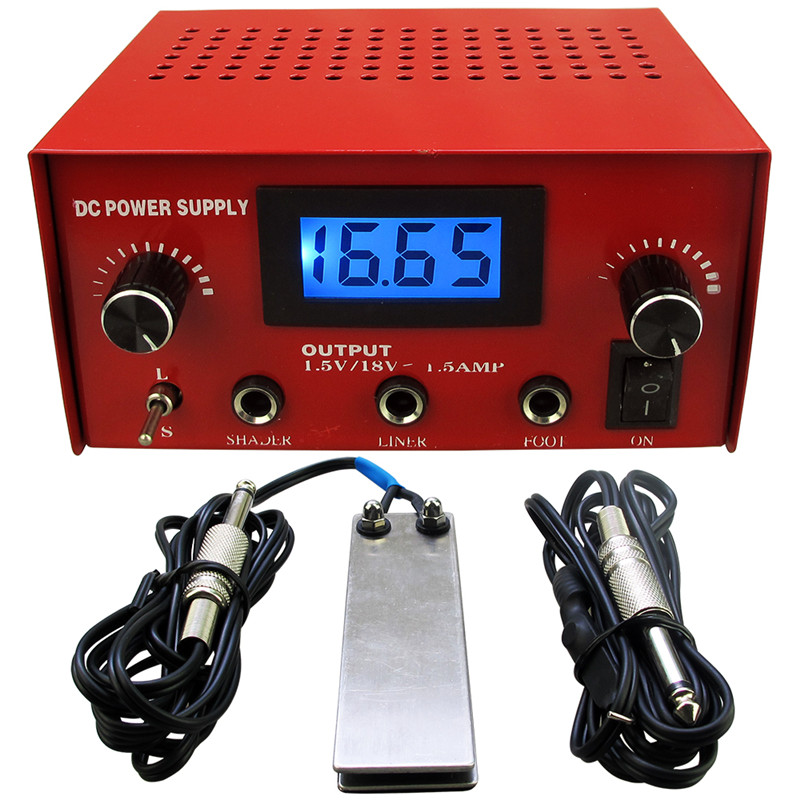Porfessioanl Tattoo Power Supply Kit LCD Digital Tattoo Power Supply Red + Stianless Steel Tattoo Foot Pedal Switch + Clip Cord<br>