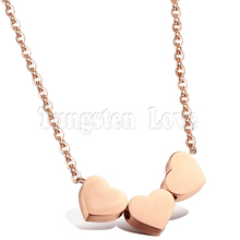 Wholesale Three Hearts Pendant Necklaces For Woman Cute Rose Gold tone Plated Steel Link Chain Woman Collarbone Jewelry collar(China)