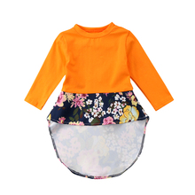 2018 Toddler Girls Flowers Dress Spring Long Sleeves Yellow T-shirt Blouse Patchwork Heart Hole Back Princess Love Heart Dresses(China)