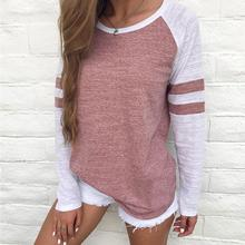 Buy Autumn Women Striped Splicing Baseball T-Shirt 2017 Fashion O Neck Long Sleeve Top Tee Female Matched Raglan Sleeve T Shirt for $9.26 in AliExpress store